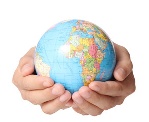 Globe ,earth in  hand