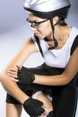 portrait of a professional female cyclist