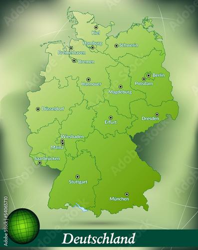 Deutschlandkarte mit Hauptstädten