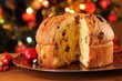 Christmas cake panettone and Christmas decorations. - 54065963