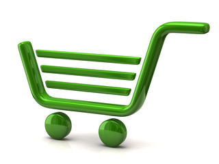 Green shopping cart icon isolated on white background