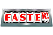 Faster Word Odometer Speed Fast Quick Racing