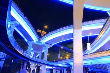 Shanghai highway viaduct urban viaduct at night