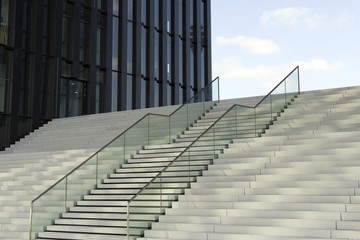 Modern stairs leading to office building