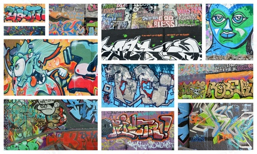 Papiers peints Graffiti collage collage...graffiti