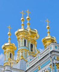 Golden dome of Catherine Palace in Pushkin, Russia