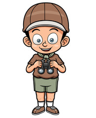Vector illustration of Boy holding binoculars