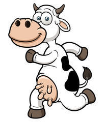 Vector illustration of a running cow cartoon
