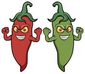 Vector illustration of cartoon chili peppers
