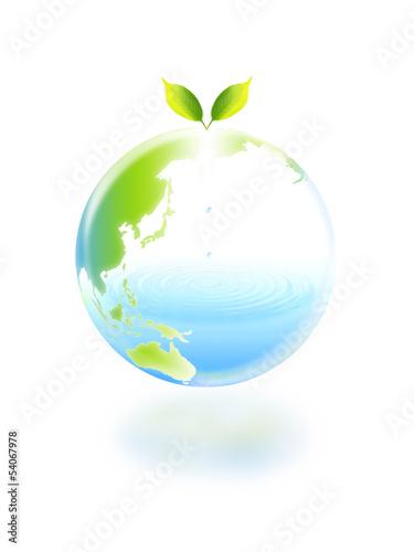地球エコイメージ 双葉と水の地球