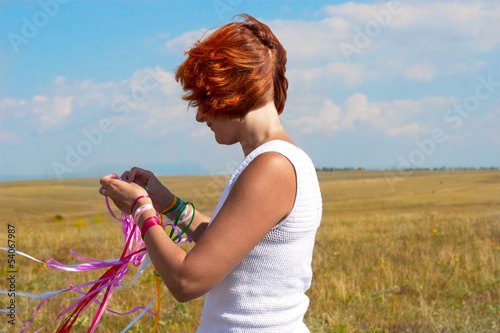 young woman with ribbons