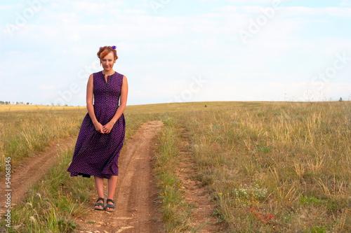 eccentric woman in the retro dress