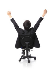 Successful excited Business man sitting in chair
