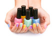 Nail Polish. Manicure. Colorful Nail Polish Bottles
