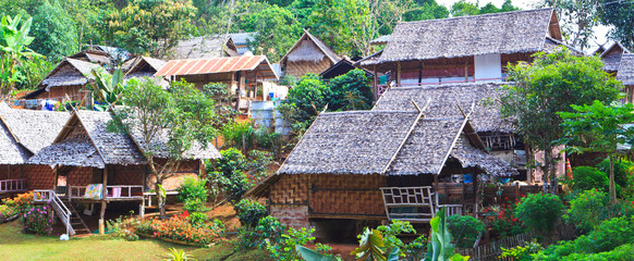 Group of hut resorts in the north of Thailand
