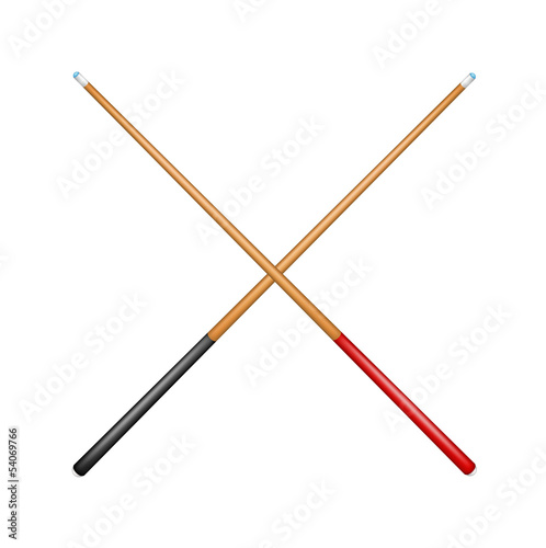 Two crossed billiard cues