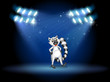 A lemur dancing at the stage with spotlights
