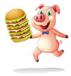 A pig holding a big pile of hamburgers