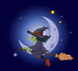 A witch riding on a broomstick floating near the moon