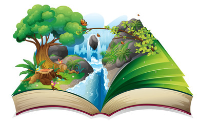 A storybook with an image of the gift of nature