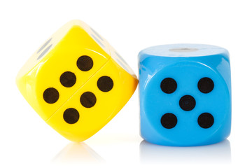 Yellow and blue game  dices
