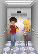 Two teenagers at the elevator