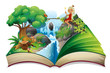 A storybook with an image of nature and a fairy