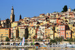 Panoramic View of Menton on the french Riviera, France