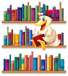 A library with a duck reading
