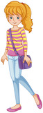 A fashionable girl with a purple slingbag