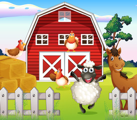 Animals at the farm with a barnhouse