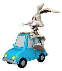Cartoon-Hase fährt auf Spielzeugauto