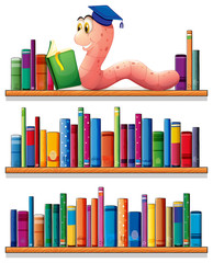 An earthworm reading at the top of the bookshelves