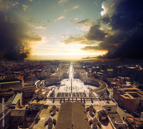 view at square in front of St. Peter's cathedral in Rome, Italy
