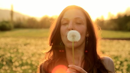 Pretty Girl Model Blowing Dandelion Laughing Summer Field