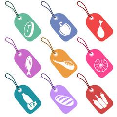 Conjunto de etiquetas con iconos de alimentación