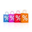 Bunte Einkaufstaschen mit Prozenten - 3D Illustration