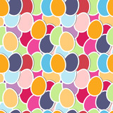 Seamless pattren with cute colorful paper eggs, vector.