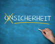 Hand crossing out german word unsicherheit