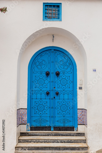 door of traditional house in Sidi Bou Said town in Tunisia