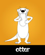 Постер, плакат: Funny cartoon walking river otter vector illustration