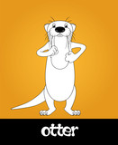 Funny cartoon walking river otter, vector illustration