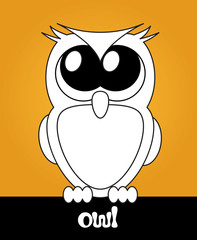 Very cute cartoon owl with big eyes, vector