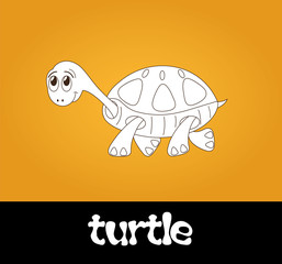 Vector illustration of cute smiling cartoon turtle
