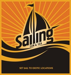 Sailing poster design template