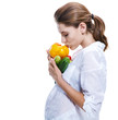 pregnant moms choose health life - isolated on white background