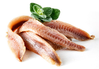 anchovies on white with oregano