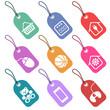 Conjunto de etiquetas con  iconos para secciones de supermercado