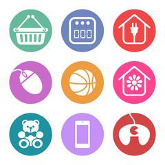 Conjunto de iconos para secciones de supermercado