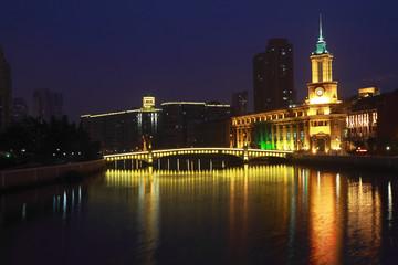 Shanghai Bund European ancient buildings of night